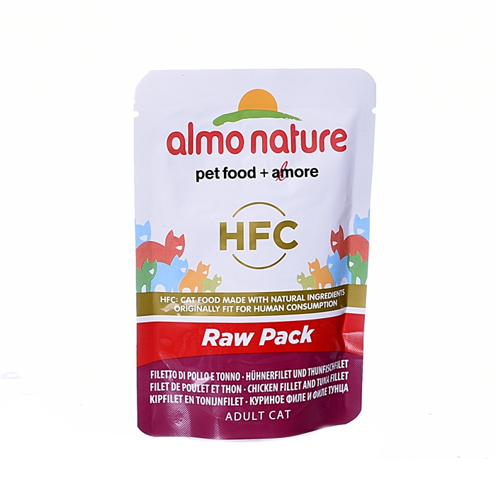 "Almo Nature паучи 75% мяса для кошек ""Филе тунца с курицей"", Classic Raw Pack - Chicken and Tuna Fillets"