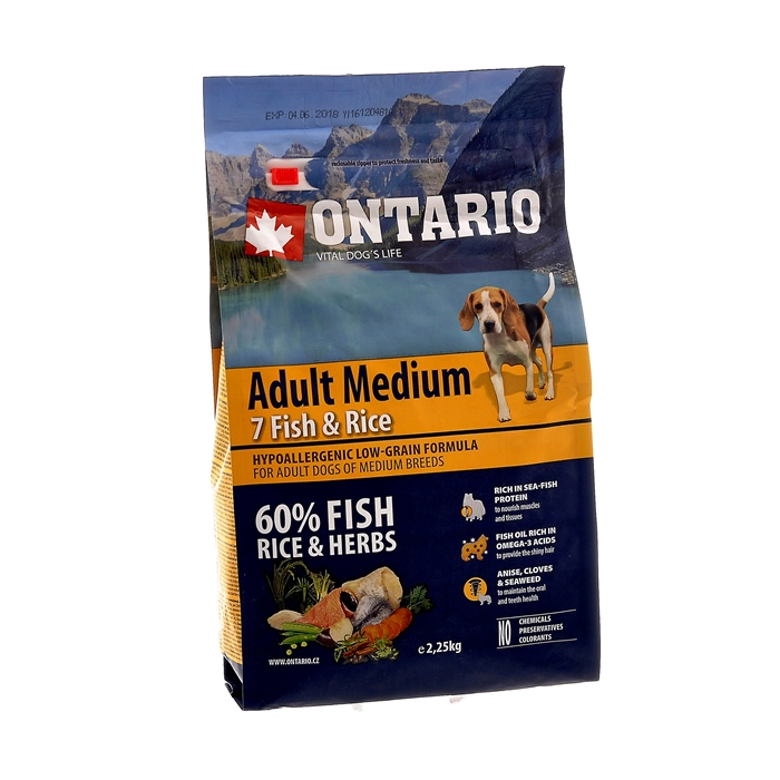 Корм Ontario для собак с 7 видами рыб и рисом, Ontario Adult Medium Fish & Rice