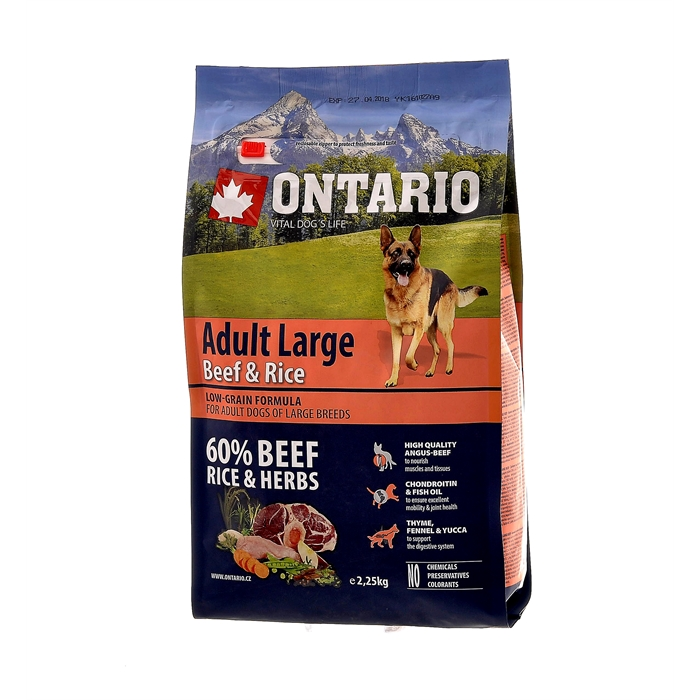 Корм Ontario для собак крупных пород с говядиной и рисом, Ontario Adult Large Beef & Turkey