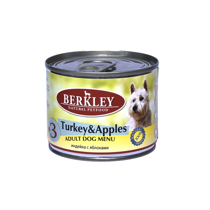 Berkley консервы для собак с индейкой и яблоками, Adult Turkey&Apples