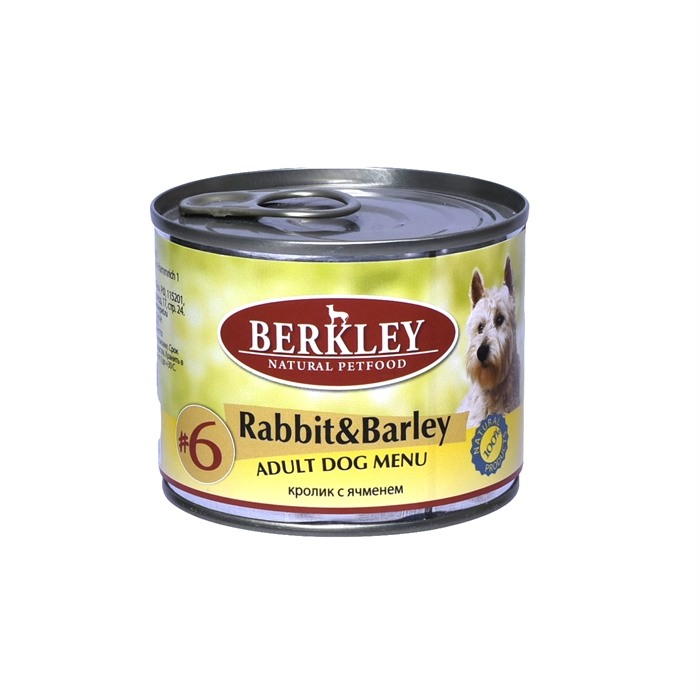 Berkley консервы для собак с кроликом и ячменем, Adult Rabbit&Barley