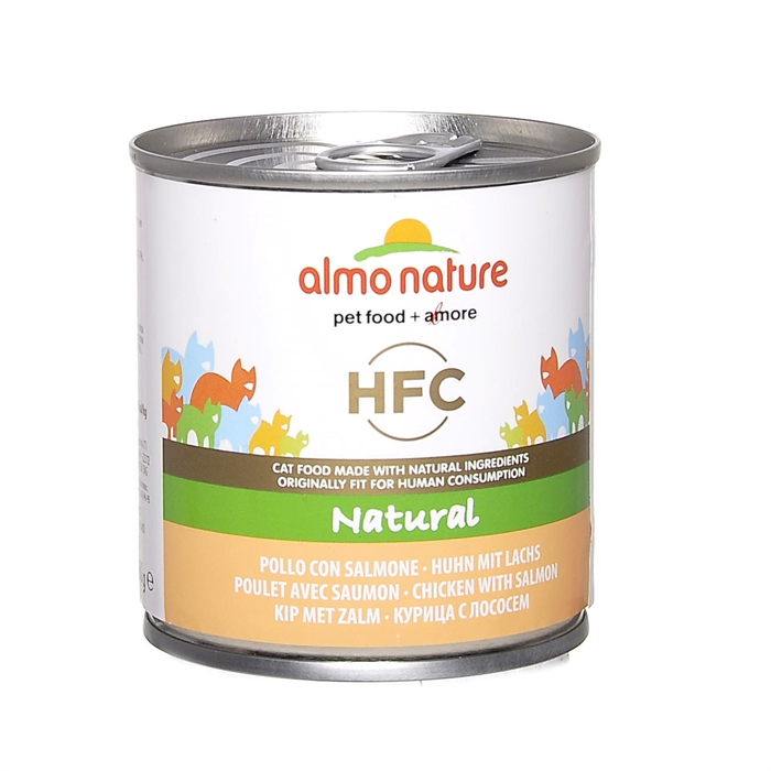 Almo Nature консервы для кошек с лососем и курицей, Classic HFC Adult Cat Salmon&Chicken